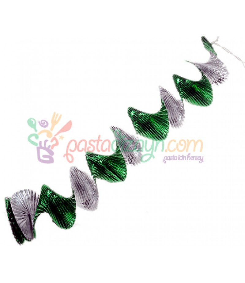 Yeşil,Gümüş Renk Parlak Asma Süsleme