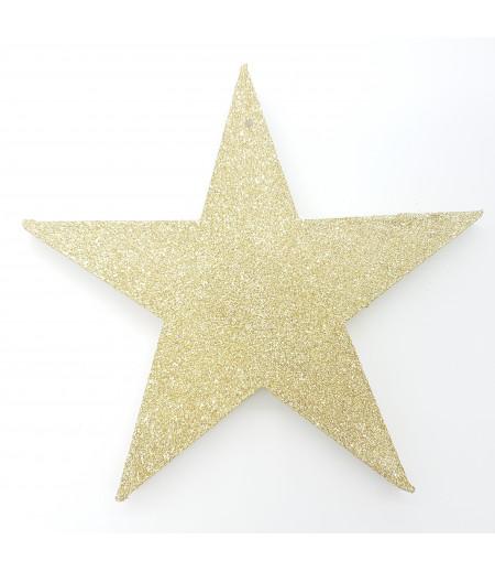 Yıldız Desenli Simli Strafor Asma Süsleme Altın