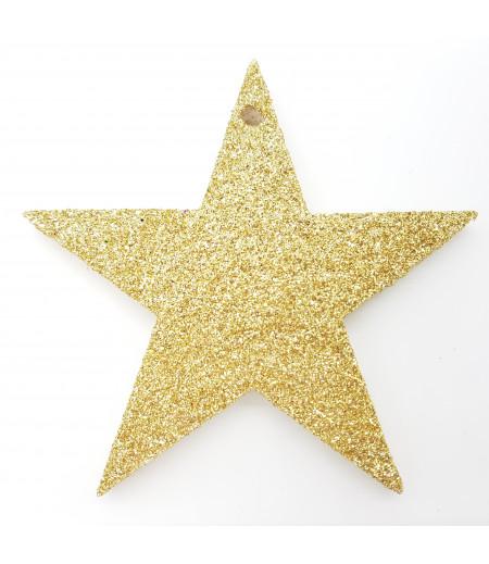 Yıldız Desenli Simli Strafor Küçük Asma Süsleme Altın