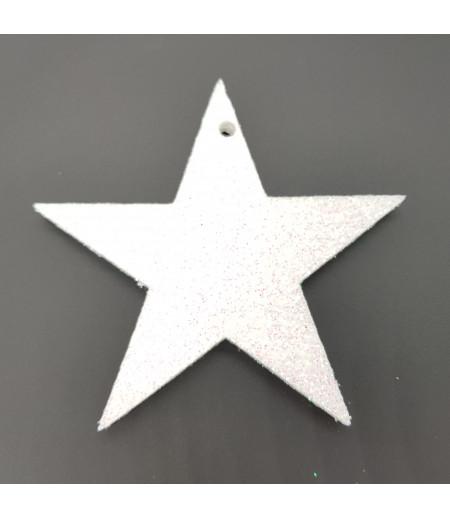 Yıldız Desenli Simli Strafor Küçük Asma Süsleme Beyaz