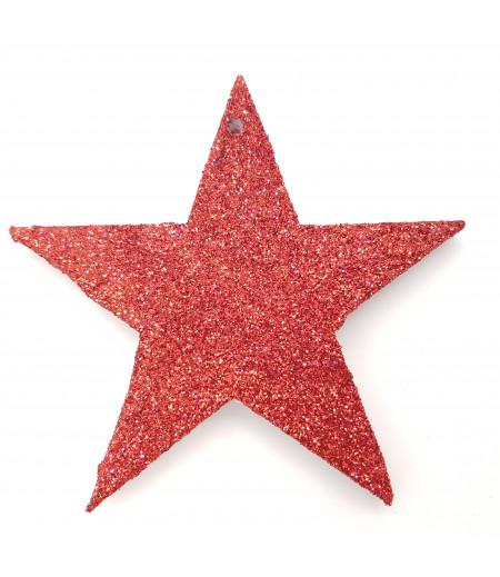 Yıldız Desenli Simli Strafor Küçük Asma Süsleme Kırmızı